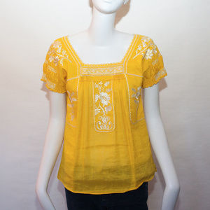 J. Crew linen blend embroidered yellow Boho top